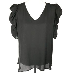 Halogen black sheer top with ruffle sleeves